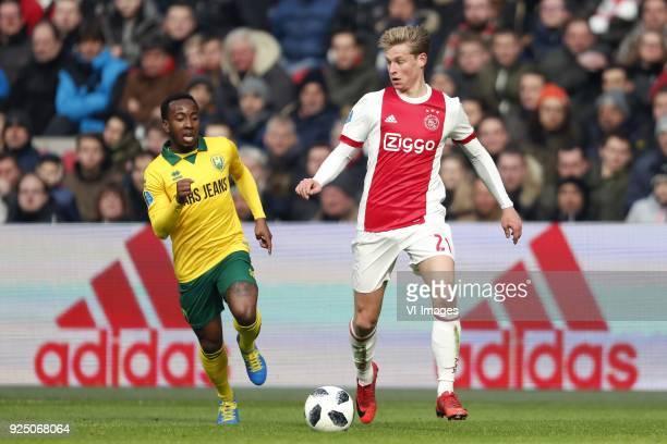 Elson Hooi of ADO Den Haag Frenkie de Jong of Ajax during the Dutch Eredivisie match between Ajax Amsterdam and ADO Den Haag at the Amsterdam Arena...