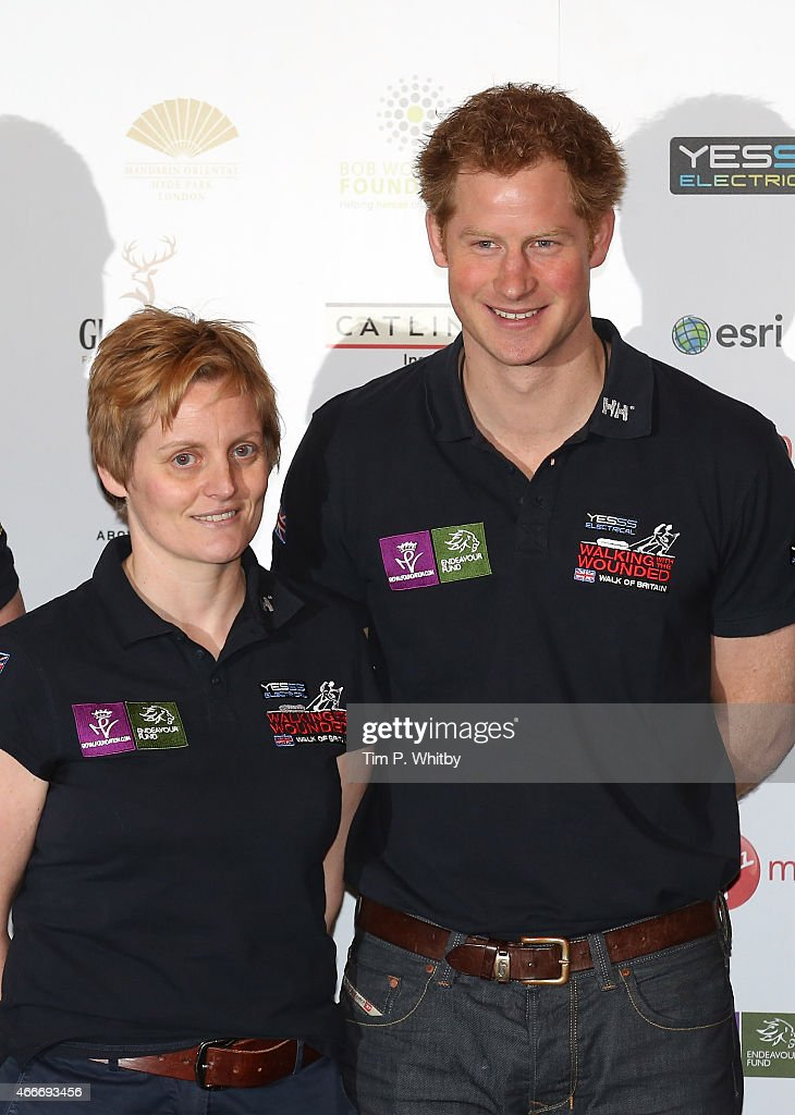 Elspeth De Montes and Prince Harry attend the Launch event for Walking with the Wounded at Mandarin Oriental Hyde Park on March 18, 2015 in London, England.