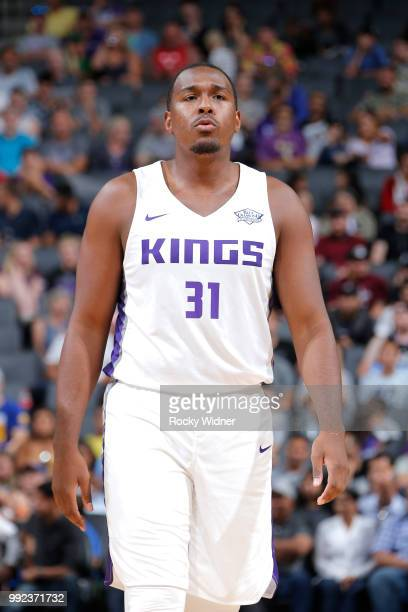 Elston Turner Jr #31 of the Sacramento Kings looks on during the game against the Miami Heat during the 2018 Summer League at the Golden 1 Center on...