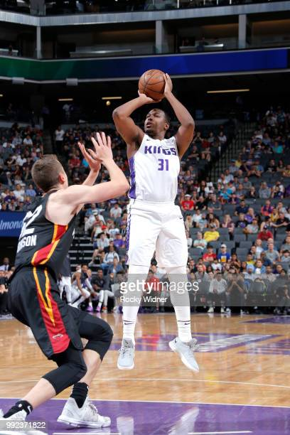 Elston Turner Jr #31 of the Sacramento Kings shoots the ball against the Miami Heat during the 2018 Summer League at the Golden 1 Center on July 5...
