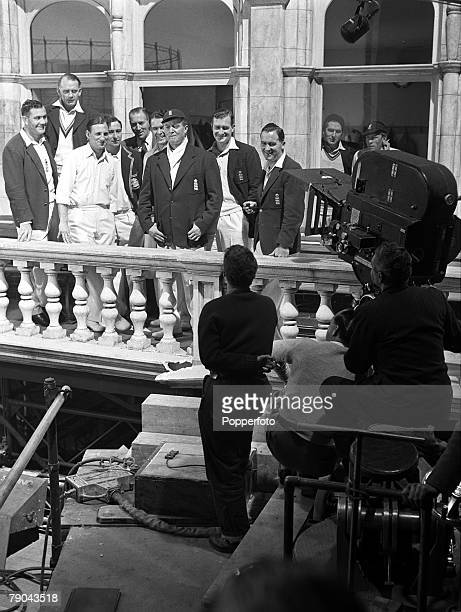 1952 Elstree Hertfordshire England Filming on the set of cricket film 'The Final Test' starring England players Alec Bedser Cyril Washbrook Len...