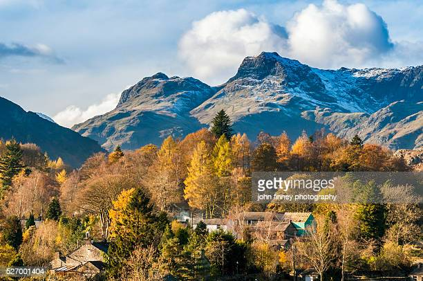 Elterwater and the Langdale Pikes in autumn. Cumbria. UK.