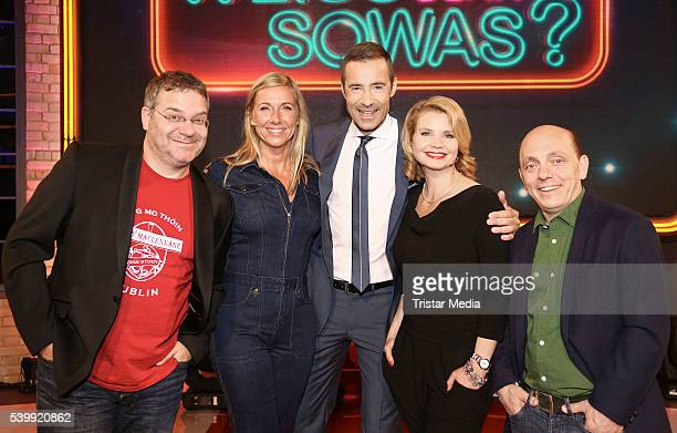 Elton Andrea Kiewel Kai Pflaume Annette Frier and Bernhard Hoecker attend the 'Wer weiss denn sowas' TV Show Photo Call on June 13 2016 in Hamburg...