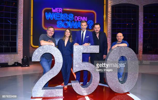 Elton Anneke Kim Sarnau Kai Pflaume Charly Huebner and Bernhard Hoecker attend 250th episode of 'Wer weiss denn sowas' at Studio Hamburg on October 4...