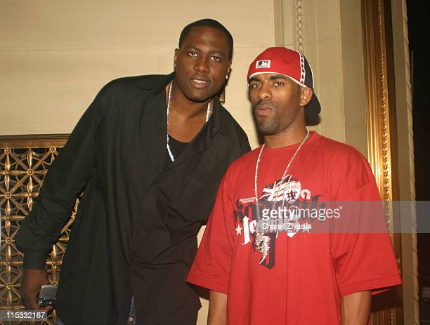 Elton Brand and Dj Clue during Olympus Fashion Week Spring 2005 Chris Aire Jewelry Launch at Gotham Hall in New York City New York United States