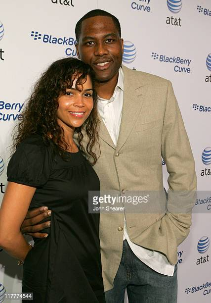 Elton Brand and guest during BlackBerry Curve from ATT Launch Party Red Carpet at Regent Beverly Wilshire in Beverly Hills California United States
