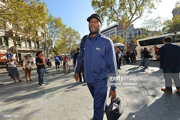 Elton Brand of the Dallas Mavericks arrives at the Hotel Majestic for NBA Europe Live 2012 on October 7 2012 in Barcelona Spain NOTE TO USER User...