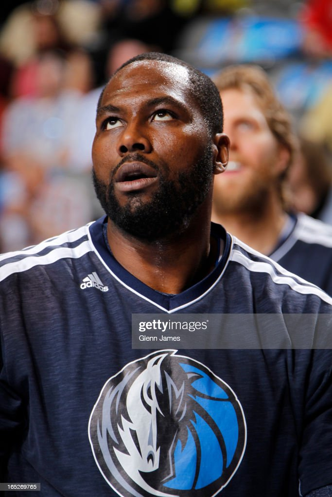 Elton Brand #42 of the Dallas Mavericks warms up before the game against the Chicago Bulls on March 30, 2013 at the American Airlines Center in Dallas, Texas.