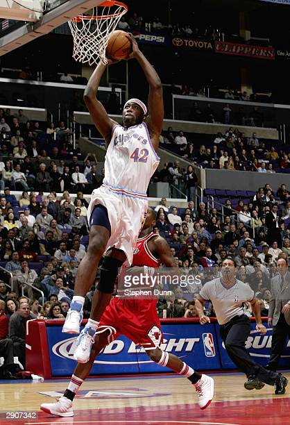 Elton Brand of the Los Angeles Clippers drives for a dunk attempt against the Chicago Bulls on January 27 2004 at Staples Center in Los Angeles...