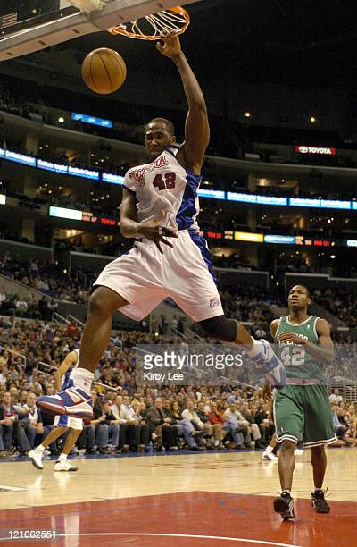Elton Brand of the Los Angeles Clippers dunks during the 134127 double overtime loss to the Boston Celtics at the Staples Center in Los Angeles...