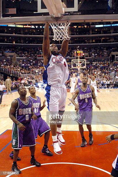 Elton Brand of the Los Angeles Clippers dunks during the NBA game between the Los Angeles Clippers and the Milwaukee Bucks at the Staples Center in...