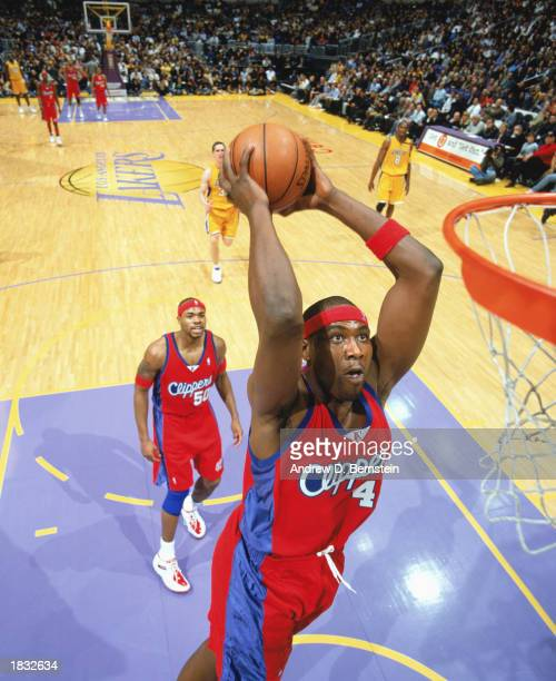 Elton Brand of the Los Angeles Clippers makes a slam dunk during the NBA game against the Los Angeles Lakers at Staples Center on February 25 2003 in...