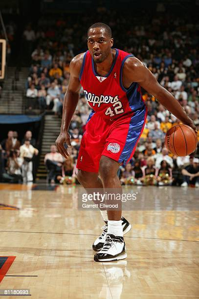 Elton Brand of the Los Angeles Clippers moves the ball during the game against the Golden State Warriors at Oracle Arena on April 12 2008 in Oakland...