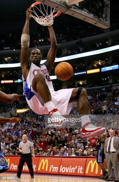 Elton Brand of the Los Angeles Clippers slam dunks in game two of the Western Conference Quarterfinals against the Denver Nuggets during the 2006 NBA...