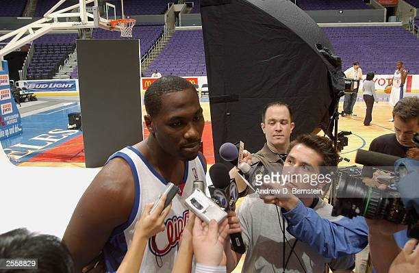 Elton Brand of the Los Angeles Clippers speaks to reporters during NBA Media Day at Staples Center on September 29 2003 in Los Angeles California...