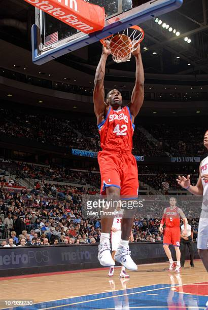 Elton Brand of the Philadelphia 76ers dunks against the Detroit Pistons in a game on January 8 2011 at The Palace of Auburn Hills in Auburn Hills...