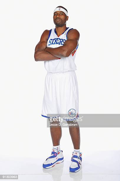 Elton Brand of the Philadelphia 76ers poses for a portrait during 2009 NBA Media Day on September 28 2009 at Wachovia Center in Philadelphia...