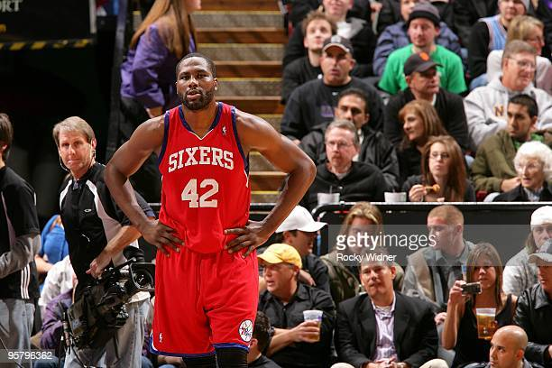 Elton Brand of the Philadelphia 76ers takes a break from the action during the game against the Sacramento Kings on December 30 2009 at Arco Arena in...