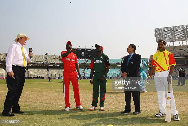 Elton Chigumbura captain of Zimbabwe and Steve Tikolo captain of Kenya pictured during the coin toss ahead of the ICC Wolrd Cup match between Kenya...