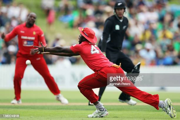 Elton Chigumbura of Zimbabwe misses a catch during game two of the One Day International series between New Zealand and Zimbabwe at Cobham Oval on...