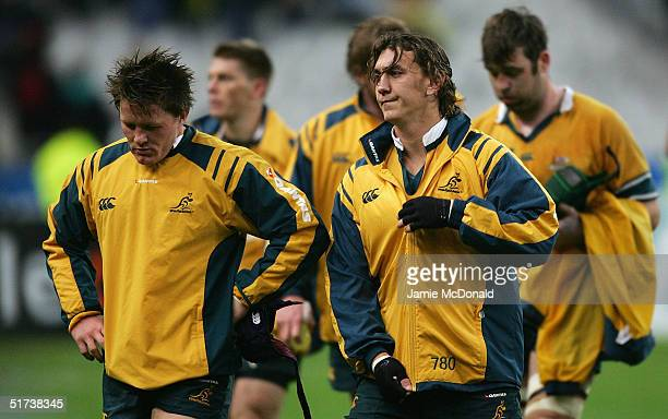 Elton Flatley and Mat Rogers of Australia look dejected during the Test Match between France and Australia at the Stade de France on November 13 2004...