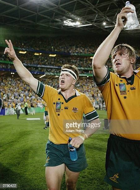 Elton Flatley of Australia celebrates victory during the Rugby World Cup SemiFinal match between Australia and New Zealand at Telstra Stadium...