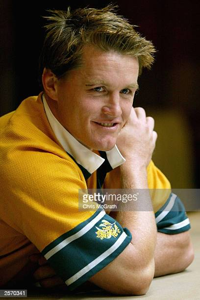 Elton Flatley shows off the wattle embrodied on the Wallabies jersey during the Australian Wallabies press conference held at the Inter Continental...