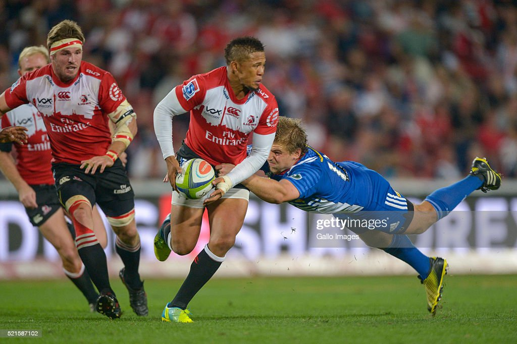 Elton Gantries of the Lions and Jean-Luc du Plessis of the Stormers in action during the 2016 Super Rugby match between Emirates Lions and DHL Stormers at Emirates Airline Park on April 16, 2016 in Johannesburg, South Africa.