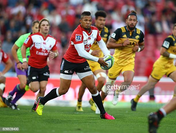 Elton Jantjies of the Emirates Lions during the round 10 Super Rugby match between Emirates Lions and Hurricanes at Emirates Airline Park on April 30...