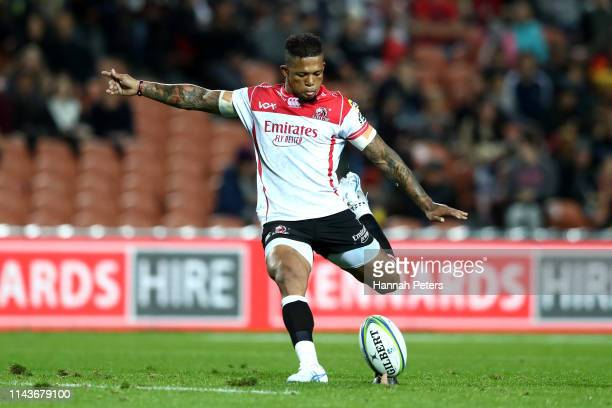 Elton Jantjies of the Lions kicks a penalty during the round 10 Super Rugby match between the Chiefs and the Lions at FMG Stadium on April 19 2019 in...