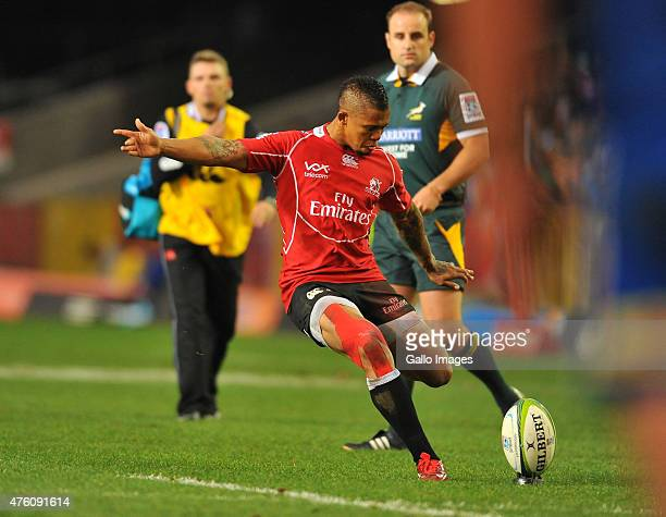 Elton Jantjies of the Lions misses the conversation during the Super Rugby match between DHL Stormers and Emirates Lions at DHL Newlands Stadium on...