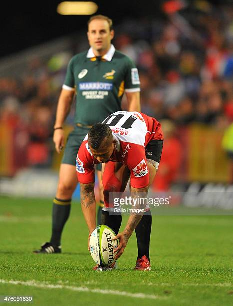 Elton Jantjies of the Lions prepares to convert during the Super Rugby match between DHL Stormers and Emirates Lions at DHL Newlands Stadium on June...