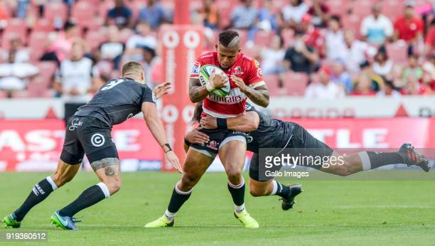 Elton Jantjies of the Lions with possession during the Super Rugby match between Emirates Lions and Cell C Sharks at Emirates Airline Park on...
