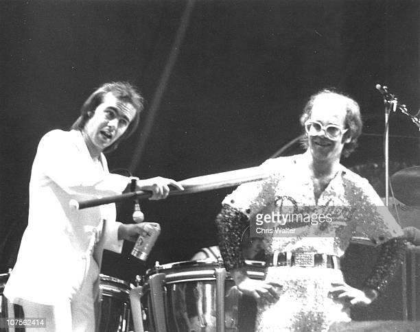 Elton John 1975 with Bernie Taupin at Dodger Stadium
