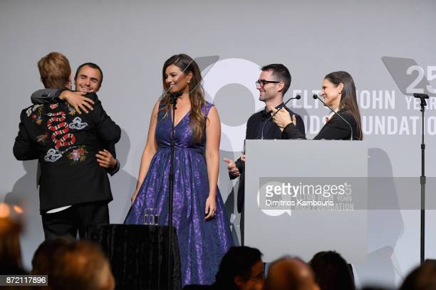 Elton John Aileen GettyRhys Tivey Elizabeth Carson and Quinn Tivey speak onstage at the Elton John AIDS Foundation 25th Year And Honors Founder Sir...