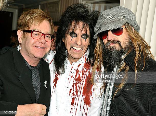 Elton John Alice Cooper and Rob Zombie pose backstage at the 26th annual Rock and Roll Hall of Fame Induction Ceremony at The Waldorf=Astoria on...