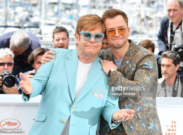 Elton John and Actor Taron Egerton attend the photocall for Rocketman during the 72nd annual Cannes Film Festival on May 16 2019 in Cannes France
