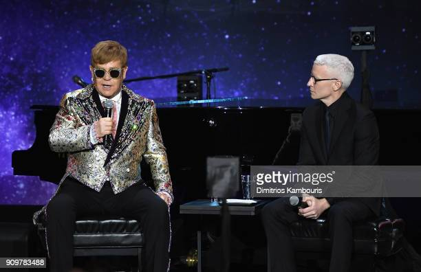 Elton John and Anderson Cooper speak during the Elton John Special Announcement at Gotham Hall on January 24 2018 in New York City