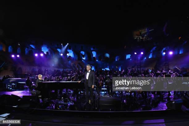 Elton John and Andrea Bocelli perform at the Andrea Bocelli show as part of the 2017 Celebrity Fight Night in Italy Benefiting The Andrea Bocelli...