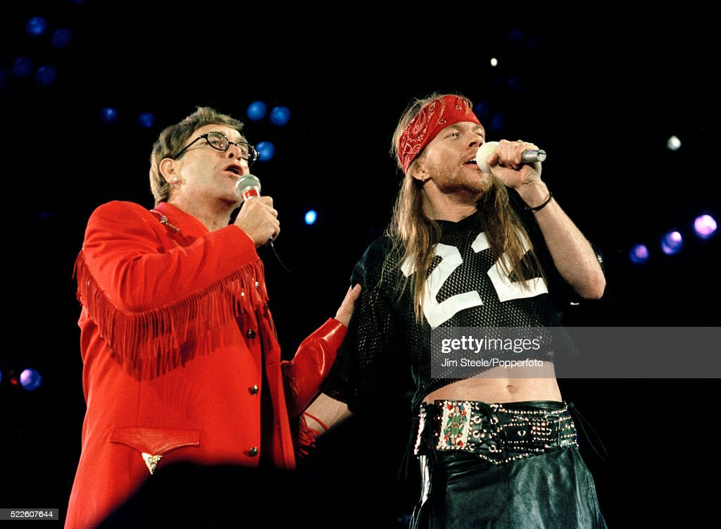 Elton John & Axl Rose in Concert at Wembley Stadium : News Photo