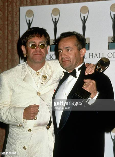 Elton John and Bernie Taupin attends the 1994 Rock and Roll Hall of Fame Induction Ceremony circa 1994 in New York City