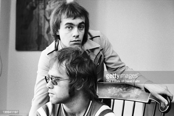Elton John and Bernie Taupin pose for a portrait in November 1970 in New York City New York