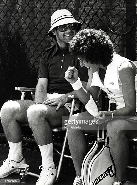 Elton John and Billie Jean King during RFK Pro Celebrity Tennis Tournament August 23 1975 at Forest Hills Stadium in New York City New York United...