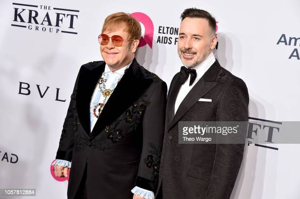 Elton John and David Furnish attend Elton John AIDS Foundation's 17th Annual An Enduring Vision Benefit at Cipriani 42nd Street on November 5 2018 in...