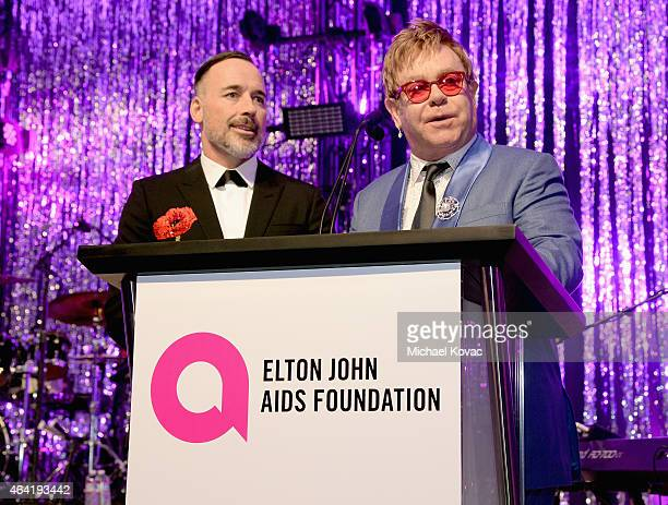 Elton John and David Furnish attend the 23rd Annual Elton John AIDS Foundation Academy Awards Viewing Party on February 22 2015 in Los Angeles...