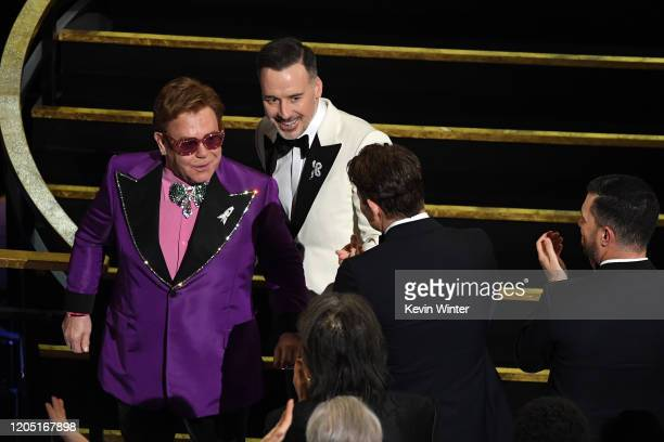 Elton John and David Furnish attend the 92nd Annual Academy Awards at Dolby Theatre on February 09, 2020 in Hollywood, California.