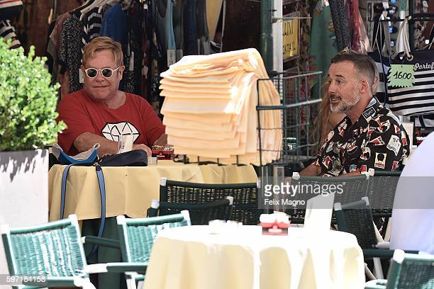 Elton John and Divid Furnish are seen on August 27 2016 in Portofino Italy