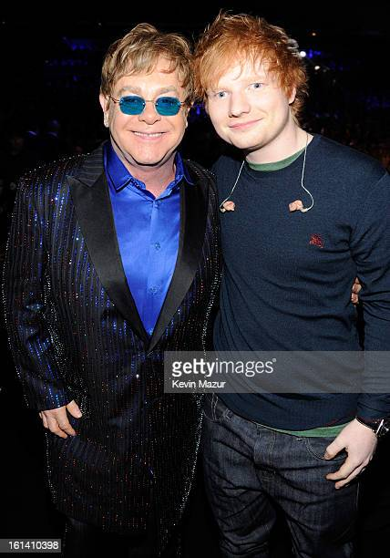 Elton John and Ed Sheeran attends the 55th Annual GRAMMY Awards at STAPLES Center on February 10 2013 in Los Angeles California