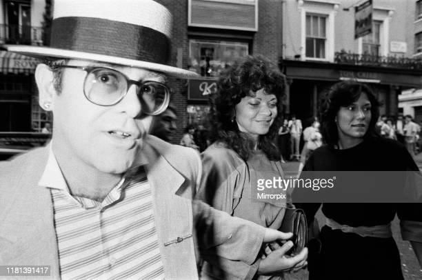 Elton John and his wife Renate arrive at the Comedy Theatre 14th June 1984
