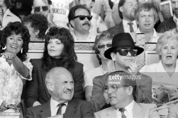 Elton John and his wife Renate watching the Watford v Tottenham Hotspur match Final score 10 to Watford League Division One 9th May 1987